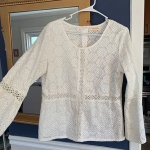White Lace Bell Sleeve Button Up Blouse